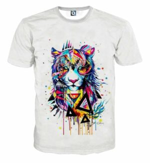 Creative Tiger Art Abstract Style Fashionable T-Shirt