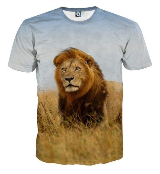 Savannah Lion Hunting Realistic Full Print T-Shirt