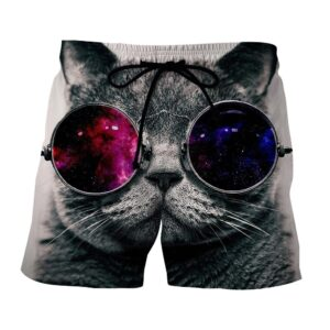 Cool Cat With Fashion Galaxy Sunglasses Art Design Shorts - Superheroes Gears