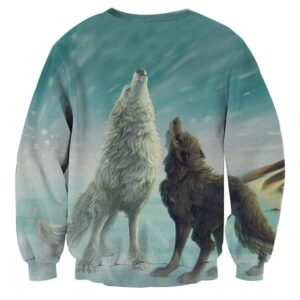 Two Howling Wolves In A Snowy Place Artistic Cool Sweatshirt