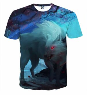 Wild Creepy Wolf With Blood On Eerie Night Vibrant T-Shirt