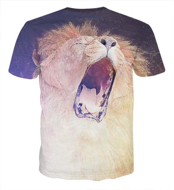 Roaring Mighty Lion Creative Sketch Urban Style T-Shirt