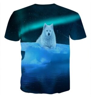 Arctic Wolf On Iceberg Starry Night Sky Stylish T-Shirt
