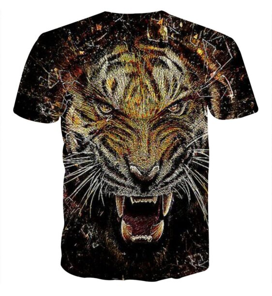 Stylish Tiger Art With Shards Of Glass Design Trendy T-Shirt
