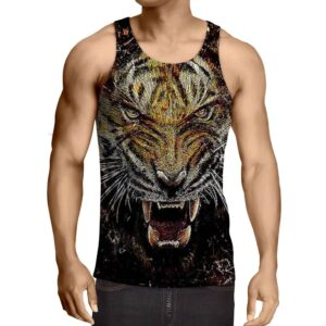 Stylish Tiger Art With Shards Of Glass Design Trendy Tank Top
