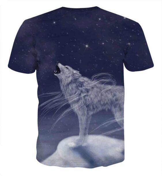 Mystery White Wolf In The Moonlight Art Design T-Shirt