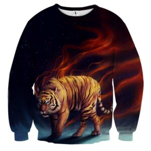 Scary Blue Eyed Tiger And Blazing Strings Of Fire Sweatshirt