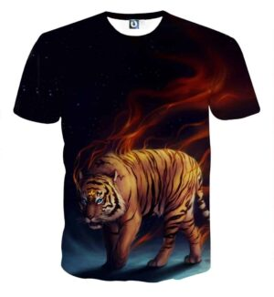 Scary Blue Eyed Tiger With Blazing Strings Of Fire T-Shirt