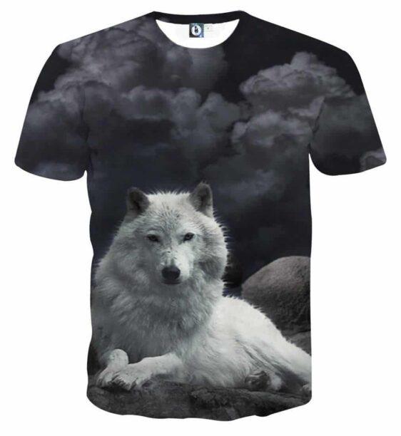 White Fur Wolf Mischievous Cloud Shape Dark Grey T-shirt