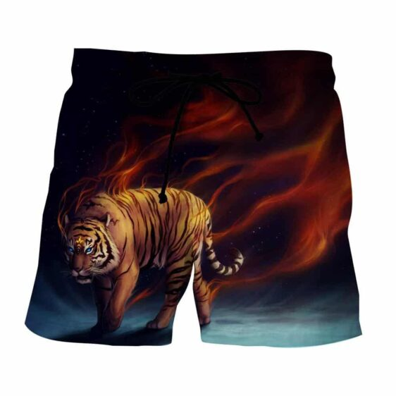 Scary Blue Eyed Tiger And Blazing Strings Of Fire Boardshorts
