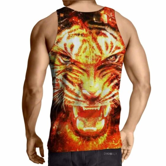 Brave King Tiger Raging With Anger Fiery Design Tank Top