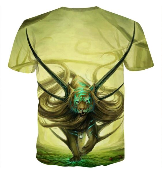 Magical Forest Tiger With Horns Neon Blue Marks Dope T-Shirt