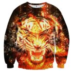 Brave King Tiger Raging With Anger Fiery Design Sweatshirt