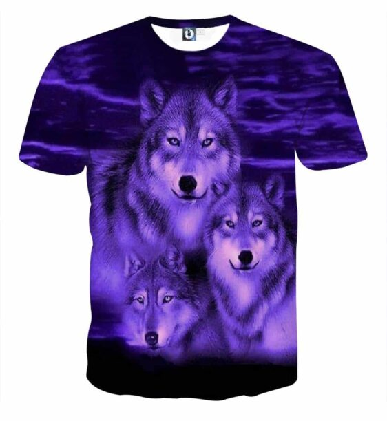 Three Wolves With Intimidating Eyes Vibrant Purple T-Shirt