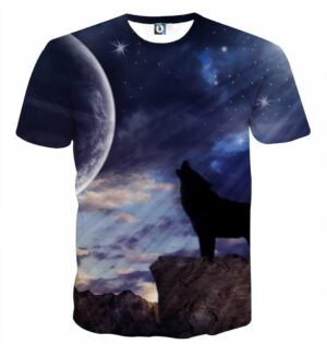 Lonely Wolf Howling In The Moon Sparkling Sky Design T-Shirt