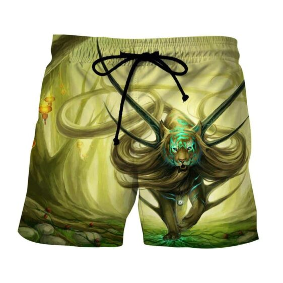 Magical Forest Tiger With Horns Neon Blue Marks Boardshorts