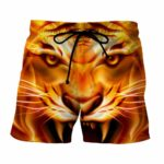Scary Look Of King Tiger Fiery Style Stunning Boardshorts