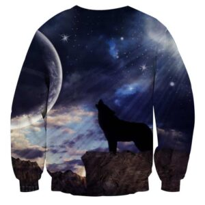 Lonely Wolf Howling In The Moon Sparkling Sky Sweatshirt
