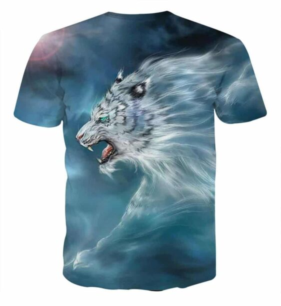 Scary Side View Look Of White Magical Tiger Unique T-Shirt