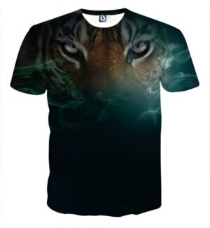Fierce Eyes Of King Tiger Smokey Design Impressive T-Shirt