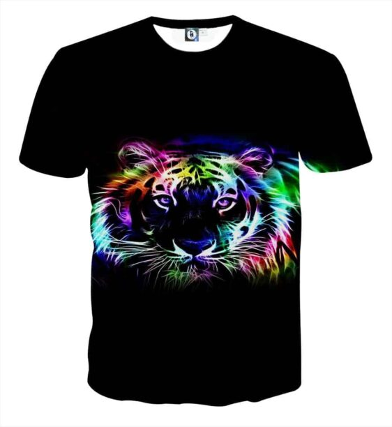 Glamorous Fierce Looking Neon Tiger Stylish Black T-Shirt