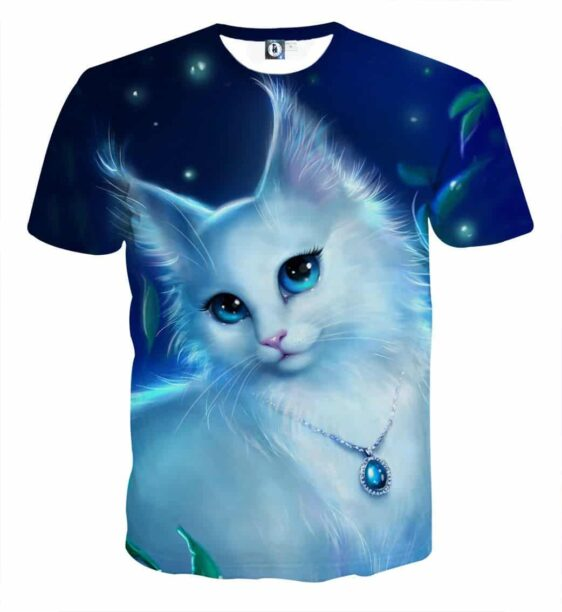 Lady Cat Fluffy Fur Portrait Blue Vibe Cool T-Shirt