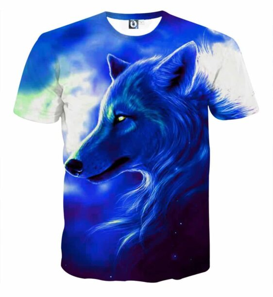 Wolf Side View Look Powerful Aesthetic Style Blue T-Shirt