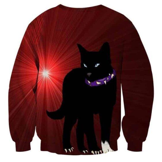 Black Scourge Cat With Red Light Art Design Sweatshirt - Superheroes Gears