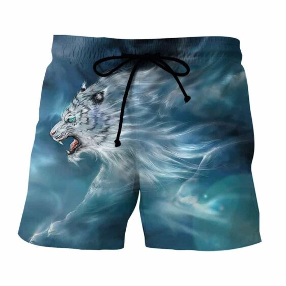 Scary Side View Look Of White Magical Tiger Epic Boardshorts