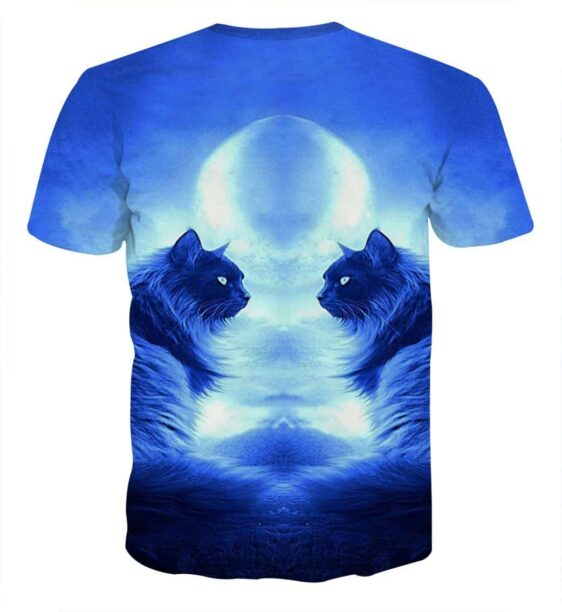 Twins Mystery Cats In The Moonlight Design T-Shirt