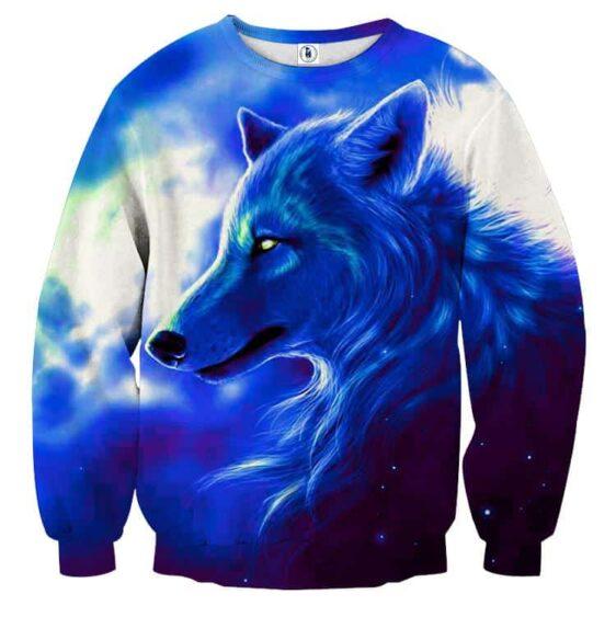 Wolf Side View Look Powerful Aesthetic Style Blue Sweatshirt