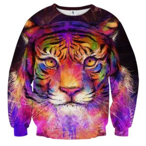 Colorful Painting Style Tiger Art Stunning Design Sweatshirt