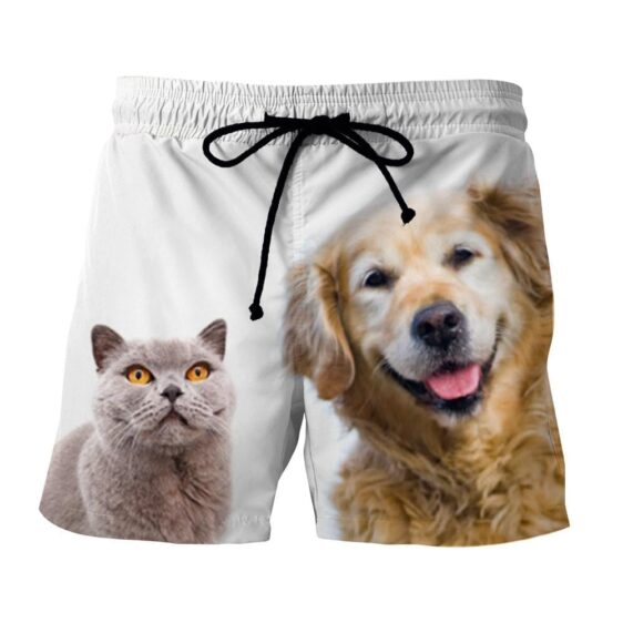 Couples Cold Cat And Happy Dog Art Design Shorts - Superheroes Gears