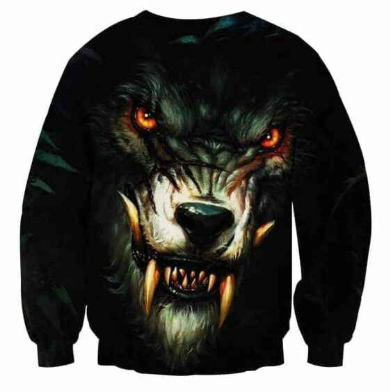 Dangerous Hunting Wolf Creepy Badass Look Dope Sweatshirt