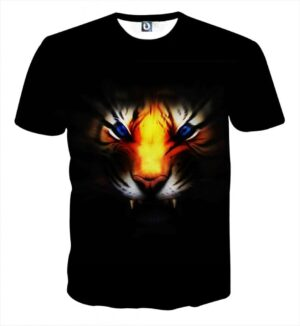 Angry Blue Eyed Tiger With Sharp Teeth Stylish Black T-Shirt