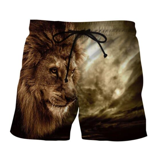 Lion Wild Animal Hunter Portrait Full Print Winter Shorts