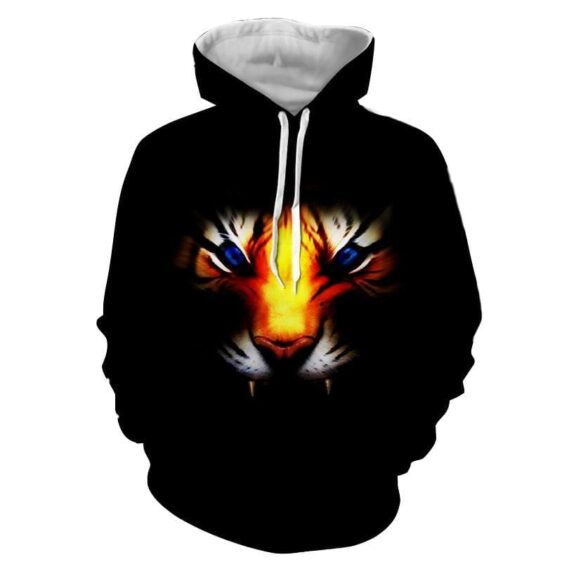 Angry Blue Eyed Tiger With Sharp Teeth Epic Black Hoodie