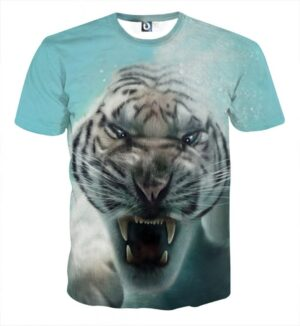 Displeased Scary Tiger Ready To Attack Stunning Blue T-Shirt