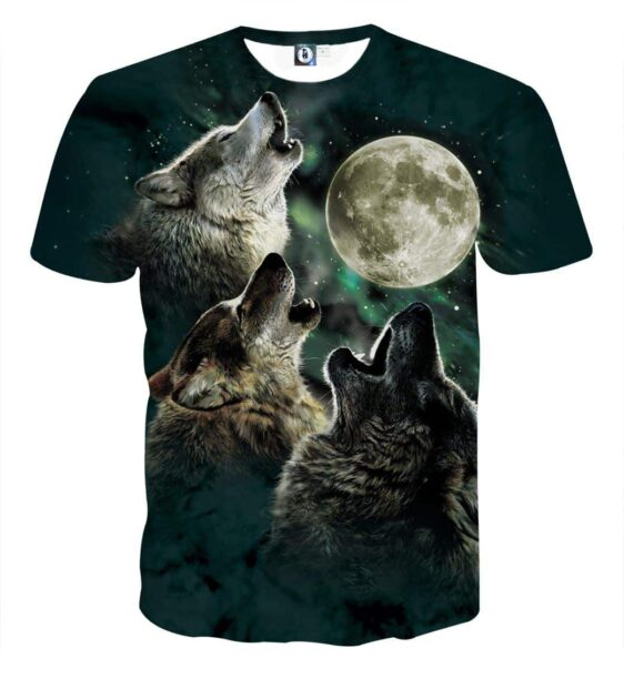 Mysterious Wolves Howling To The Moon Starry Sky T-Shirt