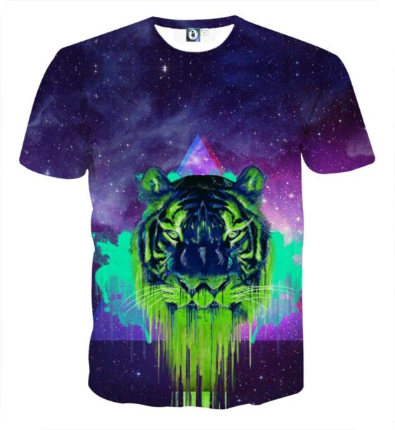 Powerful Tiger Painting Face Galaxy Art Design T-Shirt