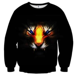 Angry Blue Eyed Tiger With Sharp Teeth Epic Black Sweatshirt