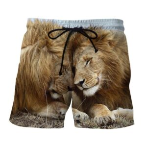 Couple Lion Romantic Theme Full Print Animal Shorts - Superheroes Gears