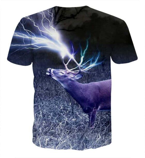 Deer Horn Lighting Power 3D Full Print Winter T-Shirt - Superheroes Gears