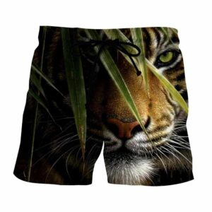 Green-Eyed Tiger Hiding And Ready To Attack Dope Boardshorts