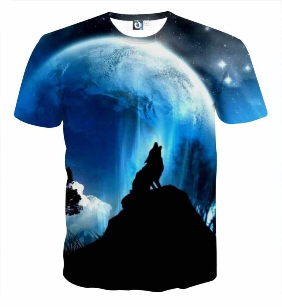 Wolf Howling To The Moon Impressive Silhouette T-Shirt