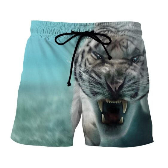 Displeased Scary Tiger Ready To Attack Stunning Boardshorts
