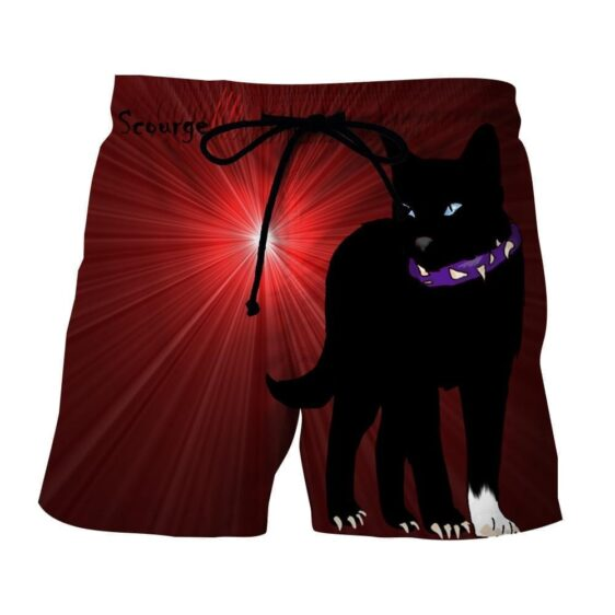 Black Scourge Cat With Red Light Art Design Shorts - Superheroes Gears