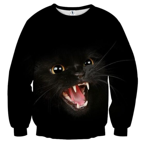 Angry Cat Face Full Print All Black Stylish Cool Sweater - Superheroes Gears
