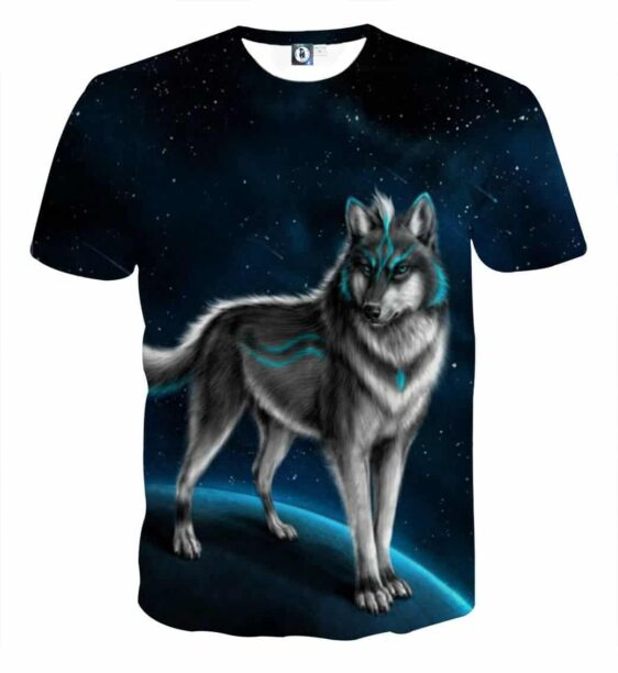 Impressive Wolf On Space Art Design Fashionable T-Shirt