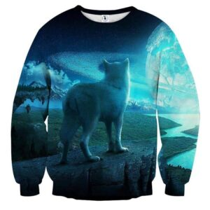Amazing Wolf Back View Design Vibrant Blue Sweatshirt